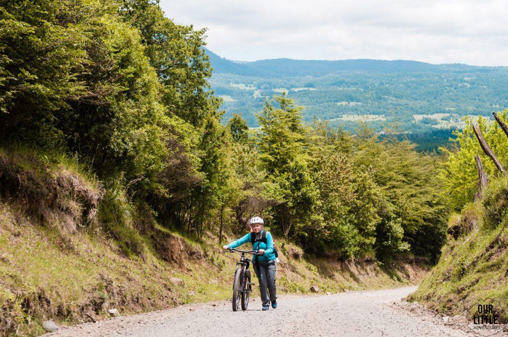 Wycieczka rowerowa w okolicach miasta Pucon. Kobieta pchająca rower pod górę na szutrowej nawierzchni