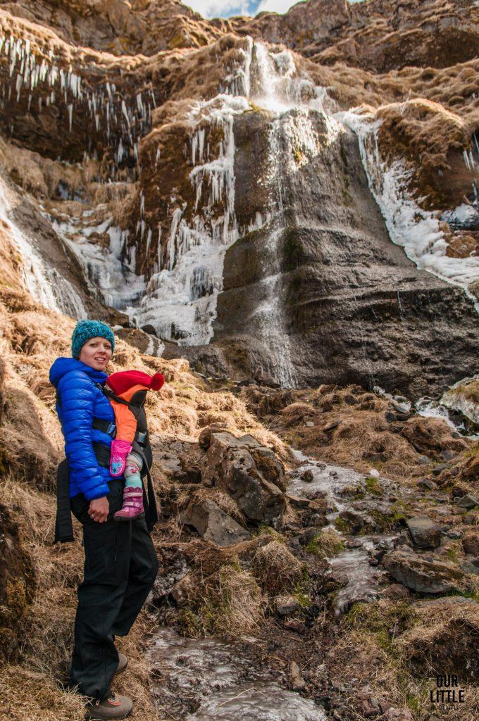 Wodospad obok słynnego islandzkiego seljaladsfossa