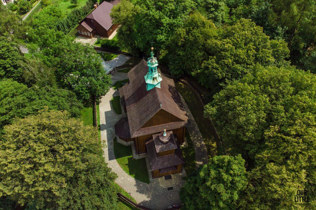 kościół świętego sebastiana widok z drona, wieliczka