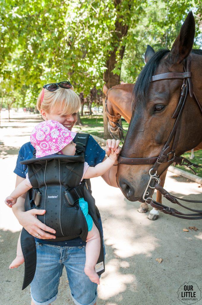 Dziecko głaszcze konia w parku Forestal w Santiago de chile