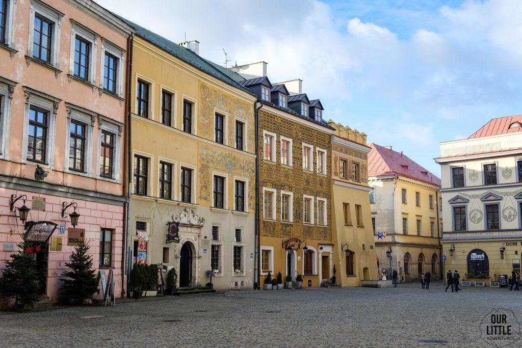 widok na kamienice Starego Miasta w Lublinie