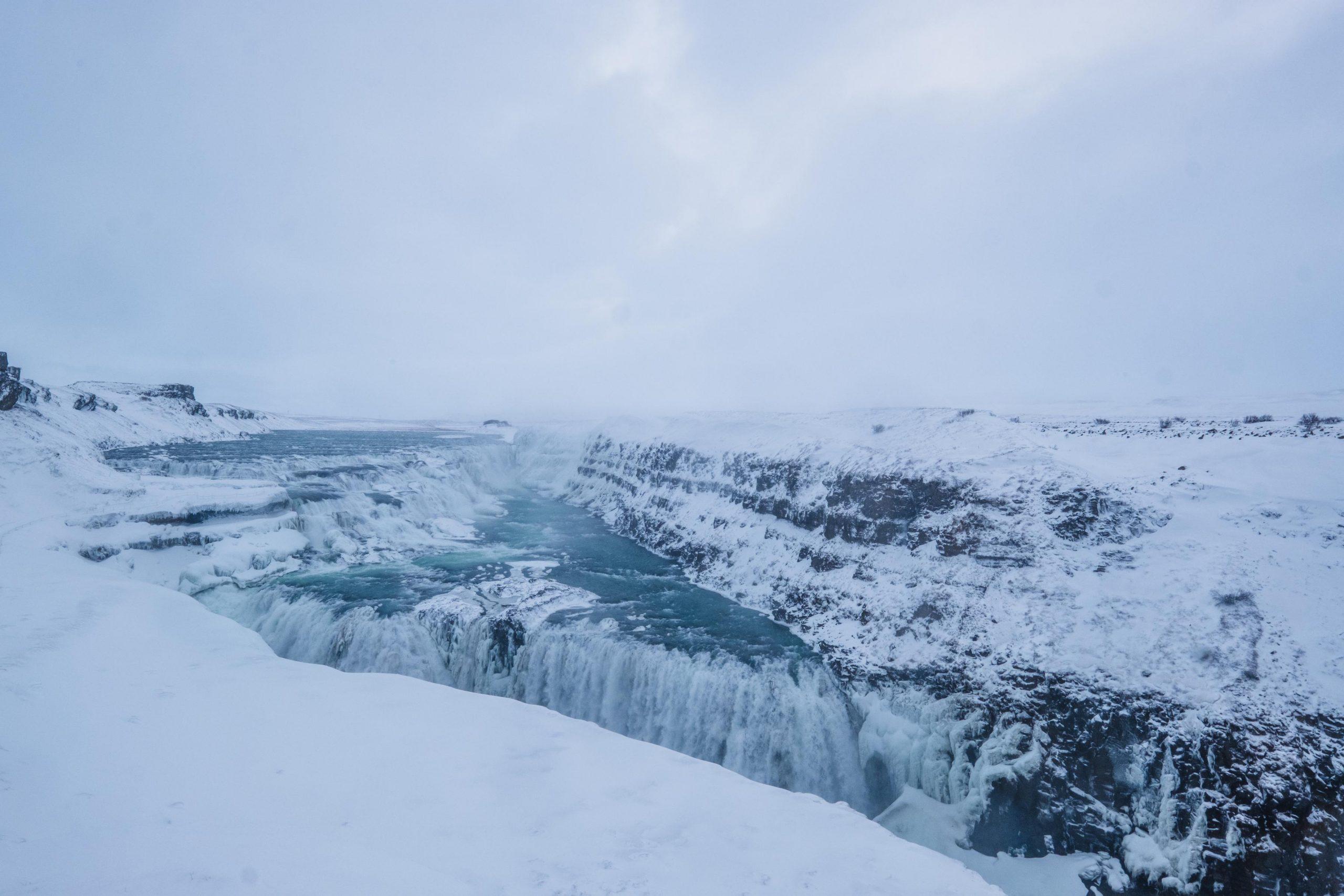 Gulfoss wodospad islandia zimą