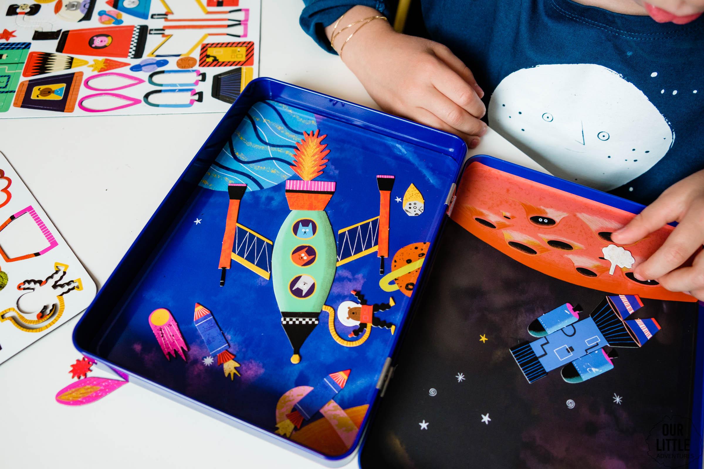 Zestaw kreatywny dla dzieci, magnetyczne puzzle Rocket Ships, Statki kosmiczne, Mudpuppy, kosmos dla dzieci