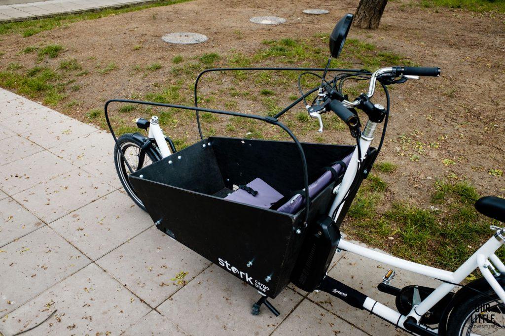 Stork cargo bike po zdemontowaniu osłony