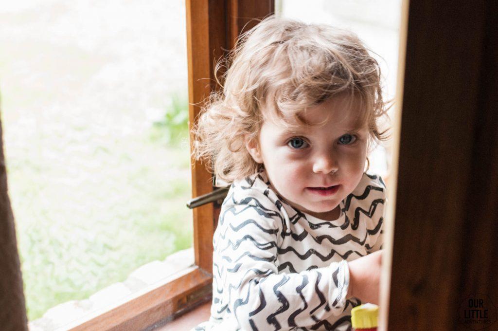 Mania patrzy przez okno w siedlisku pasieka