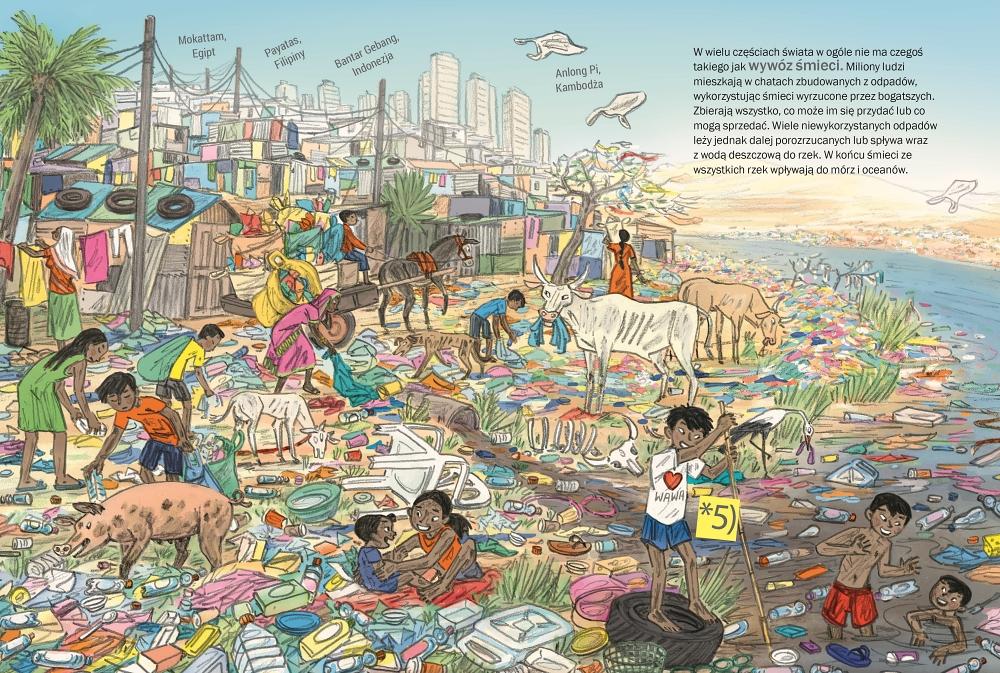 """Ilustracja do książki """"Śmieci"""" wydawnictwo Babaryba"""