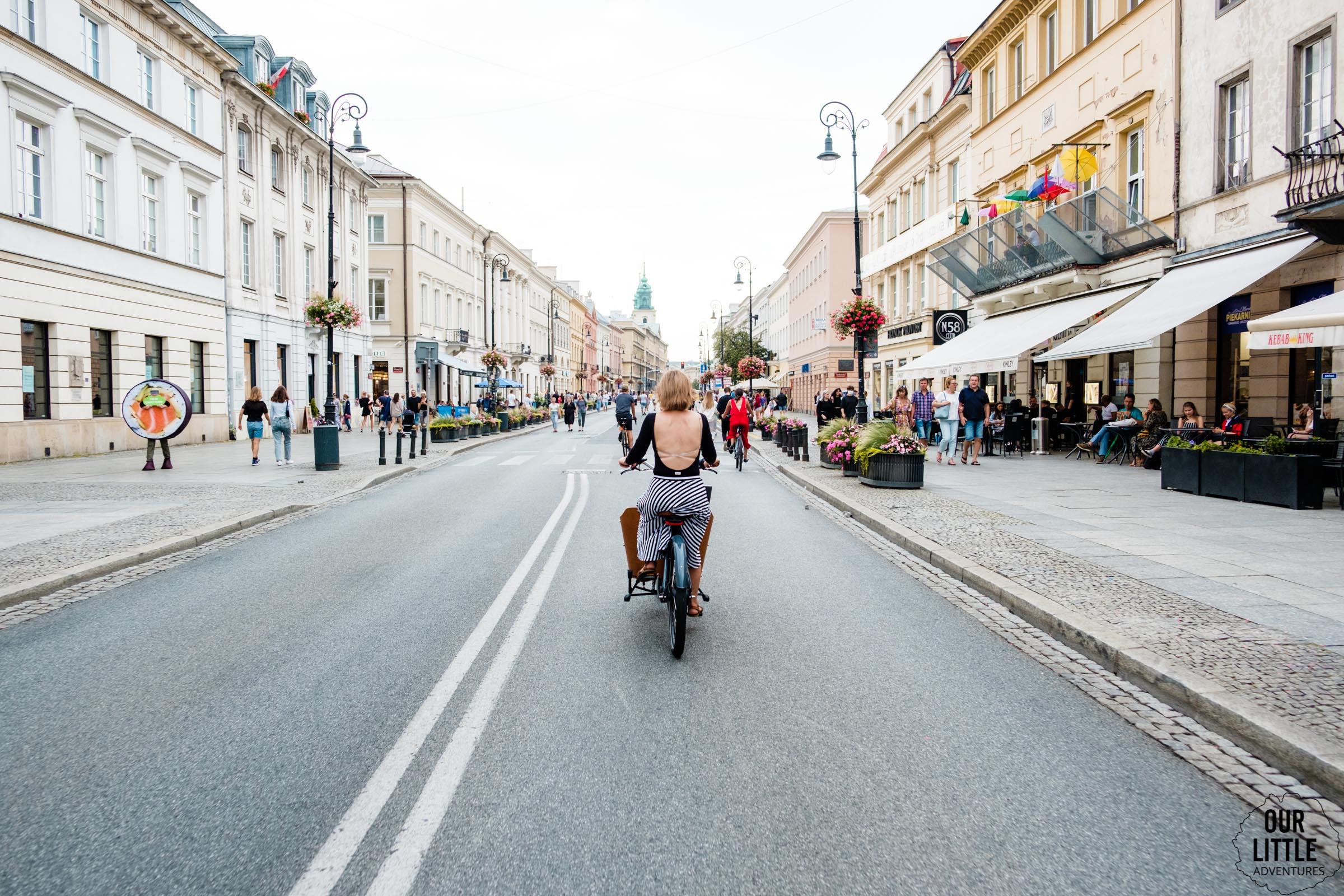Rower Cargo Babboe Mini na Krakowskim przedmieściu w Warszawie