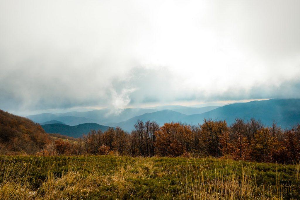 Widoki na Bieszczady z niebieskiego szlaku na Tarnicę