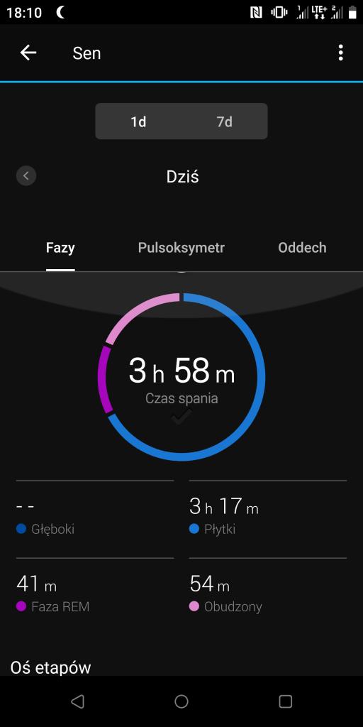 Sen - Aplikacja Garmin
