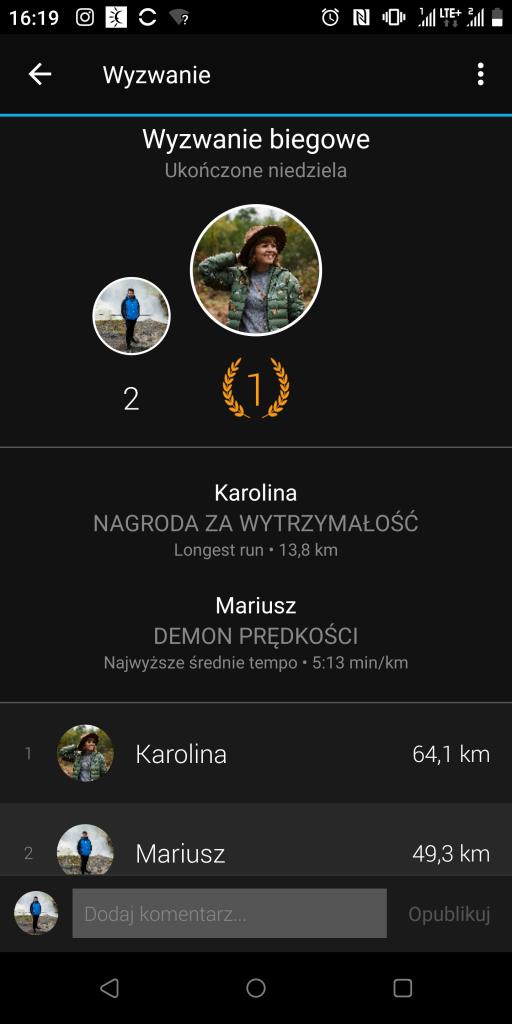 Aplikacja Garmin wyzwania