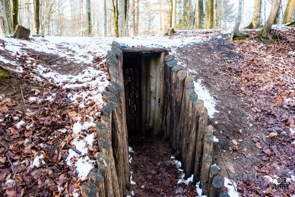 wejście do bunkra organizacji wojskowej Gryf - Kaszuby