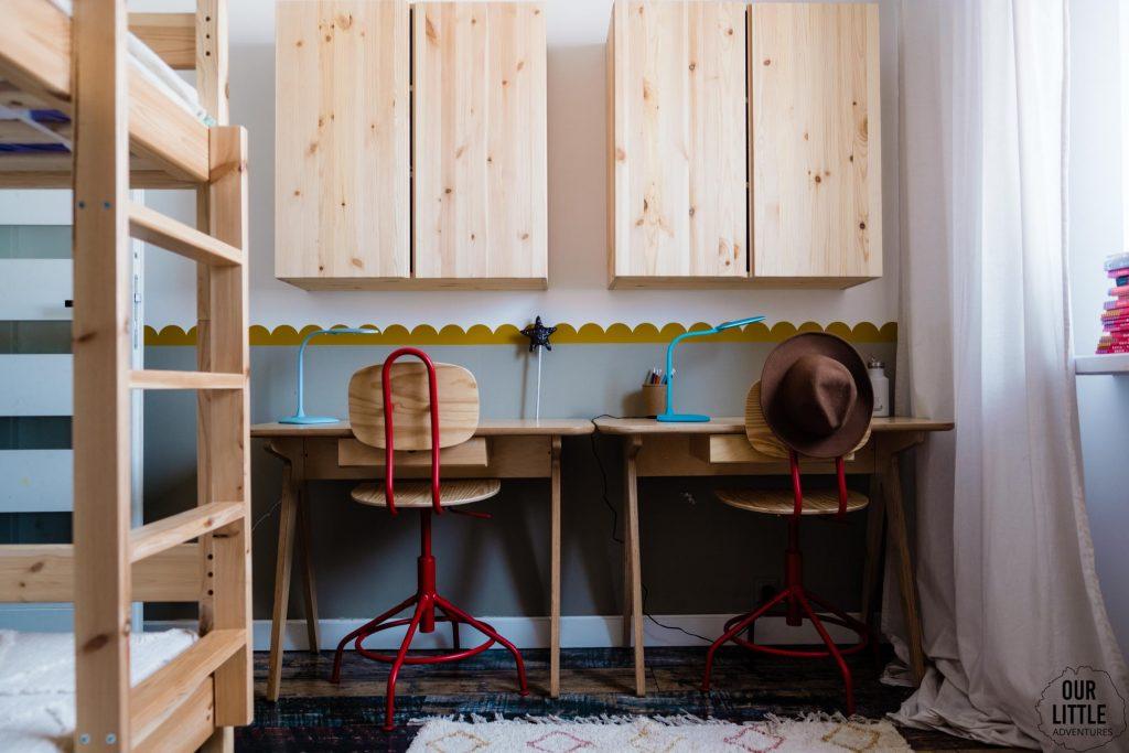 Biurka w pokoju dzieci,